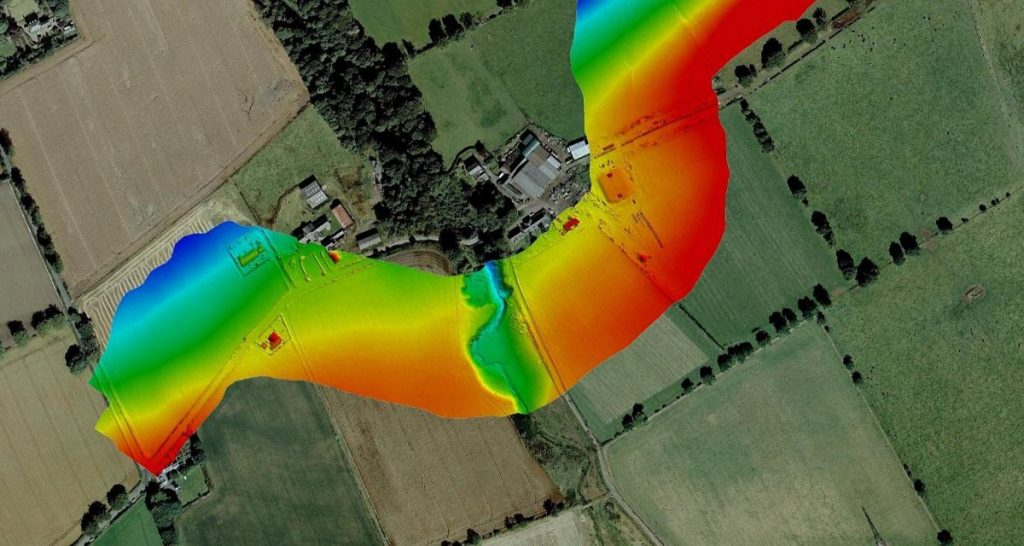 LiDAR Mapping - Imagery overlain with coloured height band UAV LiDAR.