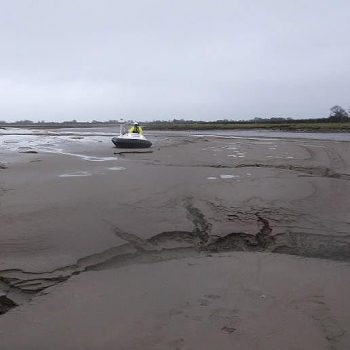 hovercraft on mud flats